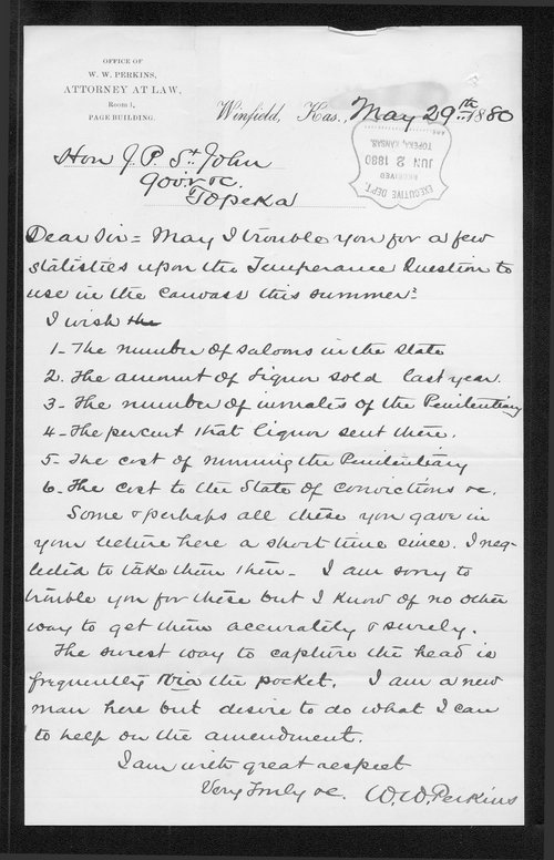 W. W. Perkins to Governor John St. John - Page