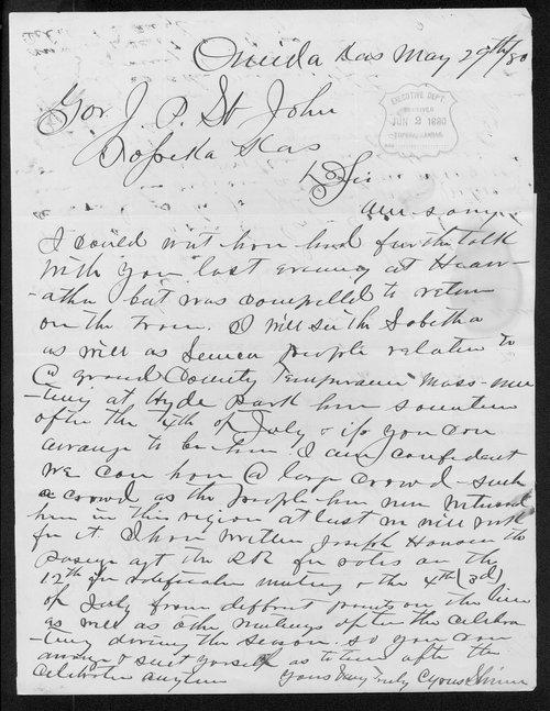 Cyrus Shinn to Governor John St. John - Page