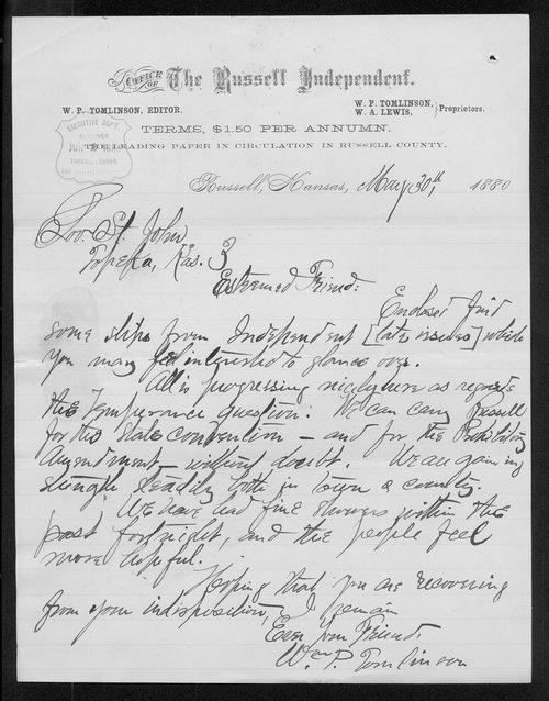 W. P. Tomlinson to Governor John St. John - Page