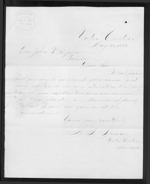 A. G. Shears to Governor John St. John - Page