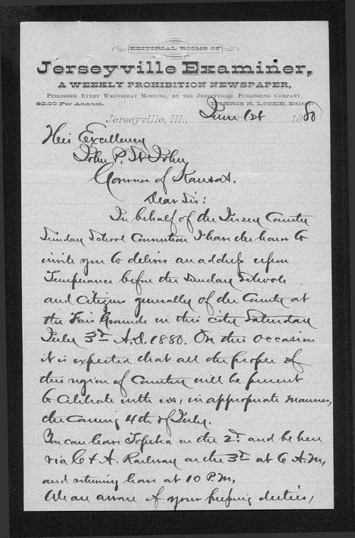 Morris Locke to Governor John St. John - Page