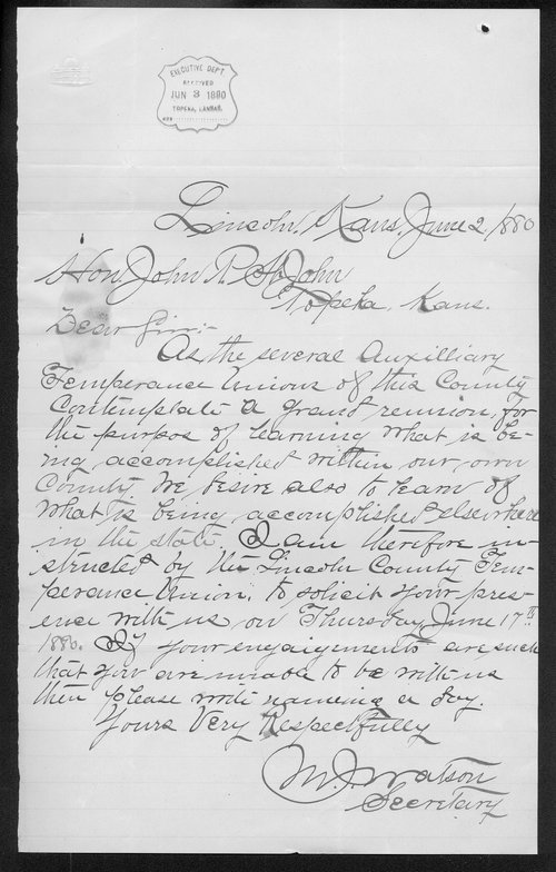W. J. Watson to Governor John St. John - Page