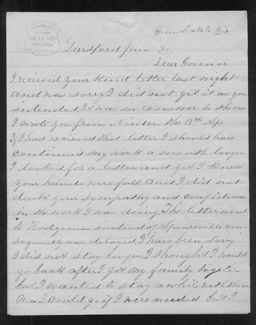 E. N. Ruddock to Governor John St. John - Page