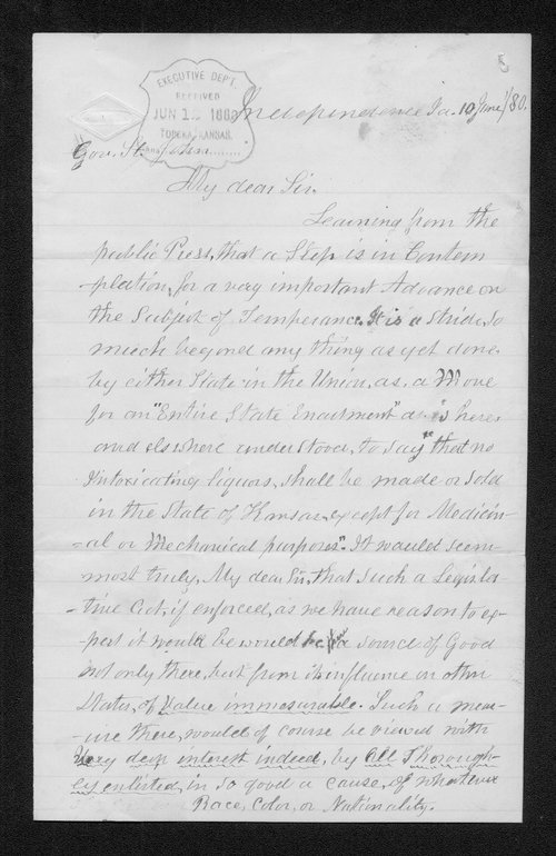 F. W. White to Governor John St. John - Page