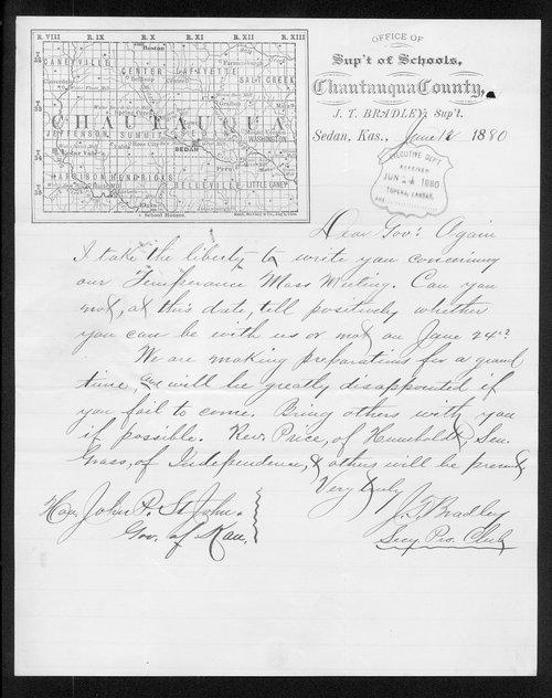 J. T. Bradley to Governor John St. John - Page