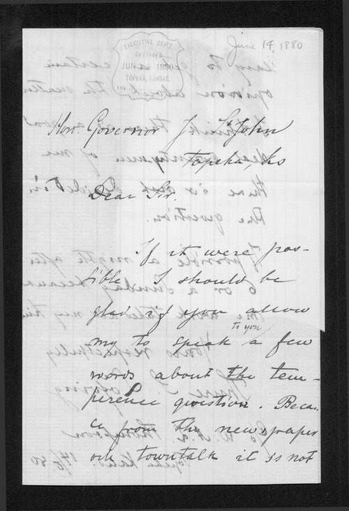 Thure S. Laforing to Governor John St. John - Page
