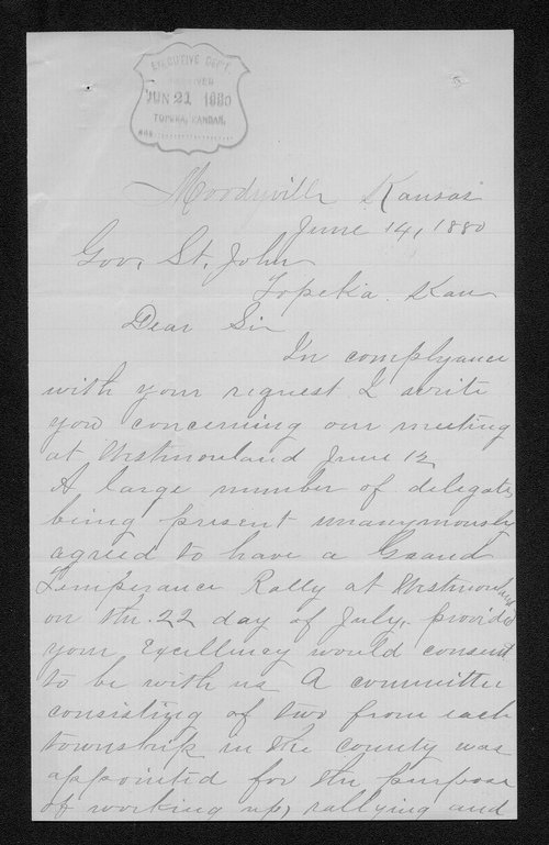 N. C. Whims to Governor John St. John - Page