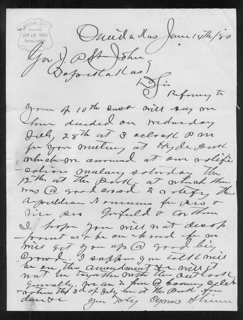 Cyrus Shinn to Governor John St. John - Page