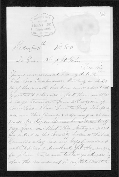 B. W. Hiatt to Governor John St. John - Page