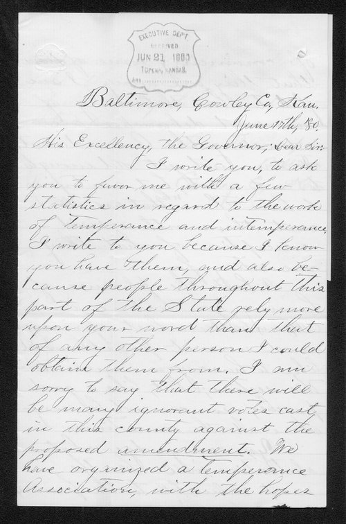 George F. Thompson to Governor John St. John - Page