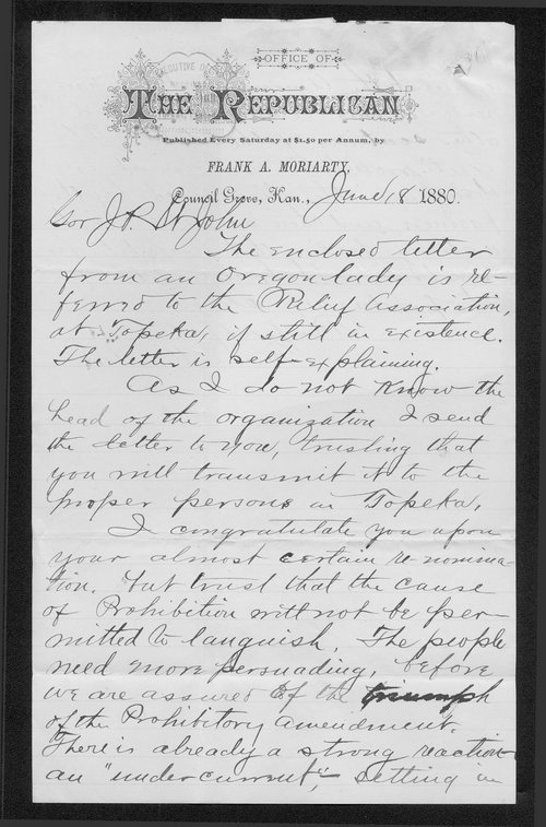 Frank A. Moriarty to Governor John St. John - Page