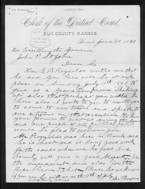 Asa Thompson to Governor John St. John - Page
