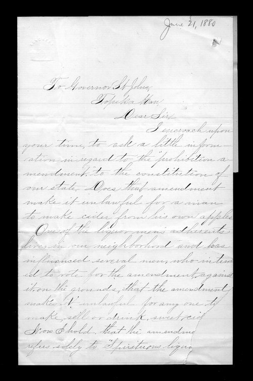 Jennie A. Beecher to Governor John St. John - Page