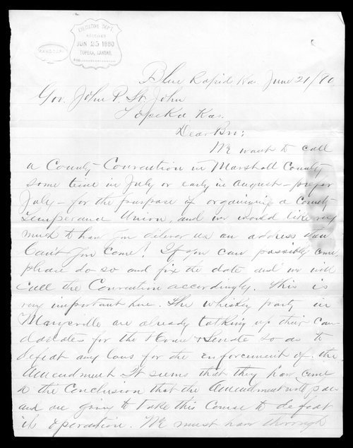 E. H. Campbell to Governor John St. John - Page