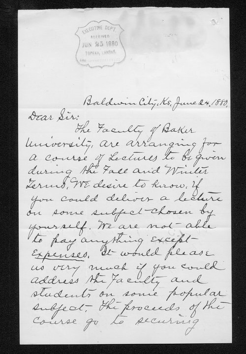 C. A. Weaver to Governor John St. John - Page