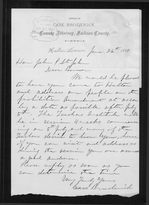 Case Broderick to Governor John St. John - Page