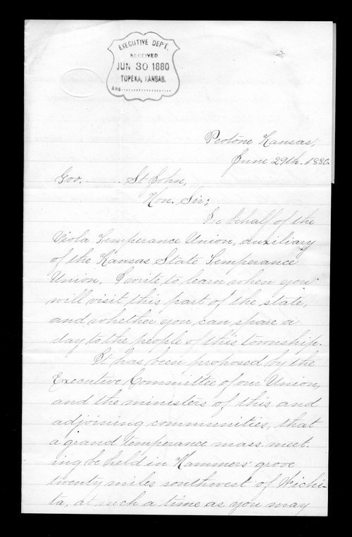 Mary N. McCrae to Governor John St. John - Page
