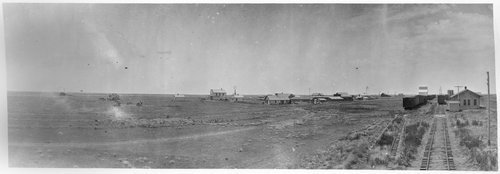 Panoramic photograph showing Copeland, Kansas, between 1900 and 1905.