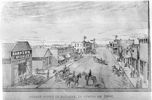 Street scene, Ravanna, Kansas - Page