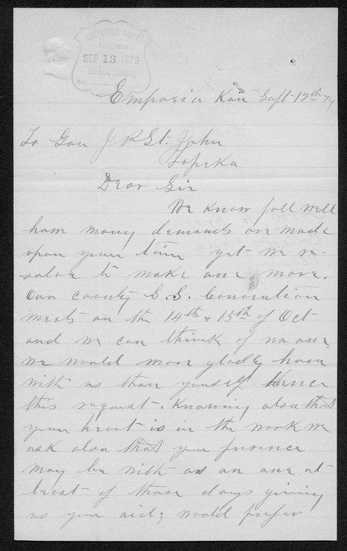 J.F. Drake to Governor John St. John - Page
