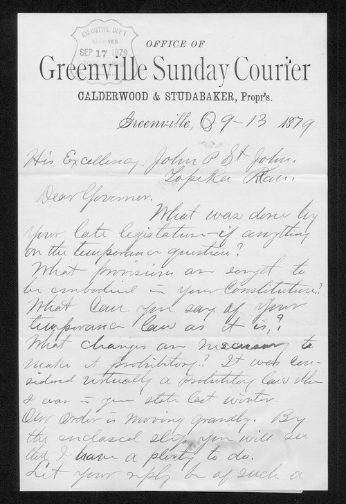 George Calderwood to Governor John St. John - Page