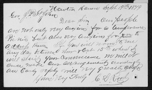 C. L. Rood to Governor John St. John - Page