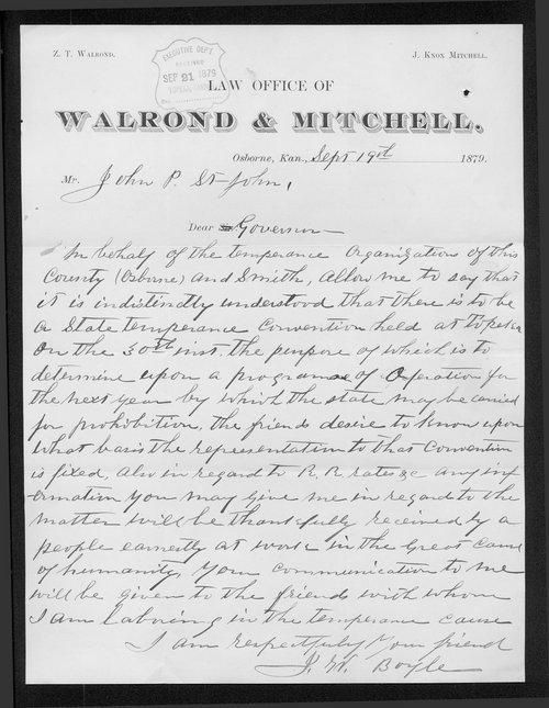 J. G.(?) Boyle to Governor John St. John - Page