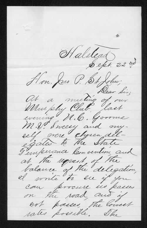 S.A. Van Kirk to Governor John St. John - Page