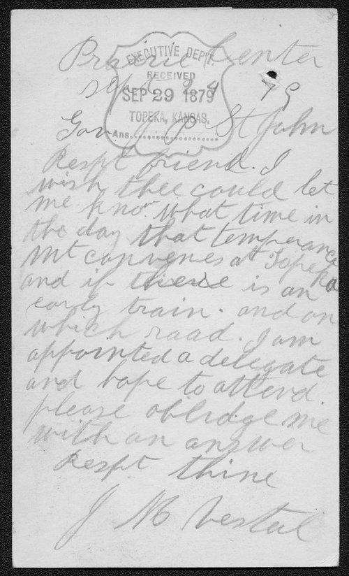 J.M. Nestal to Governor John St. John - Page