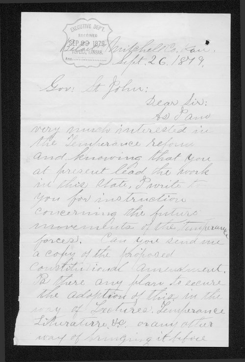 Smith Barton to Governor John St. John - Page