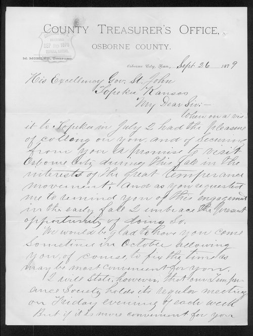 M. Mohler to Governor John St. John - Page
