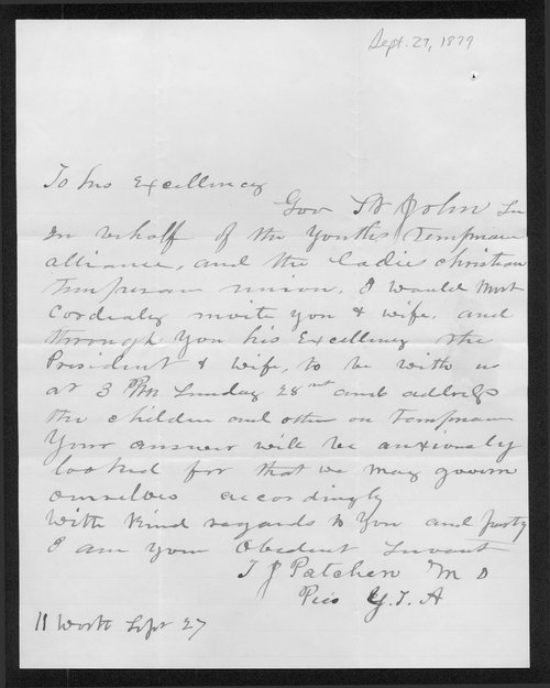 J.P. Patchen to Governor John St. John - Page