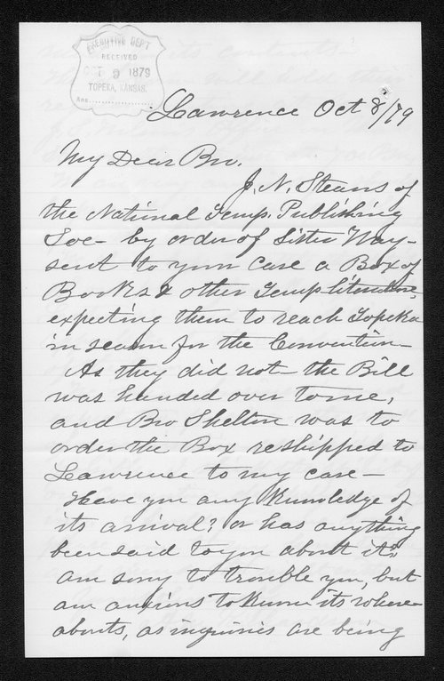 A. M. Richardson to Governor John St. John - Page
