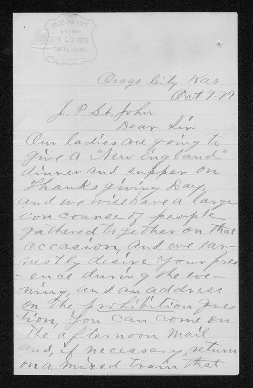 L.C. Briggs to Governor John St. John - Page