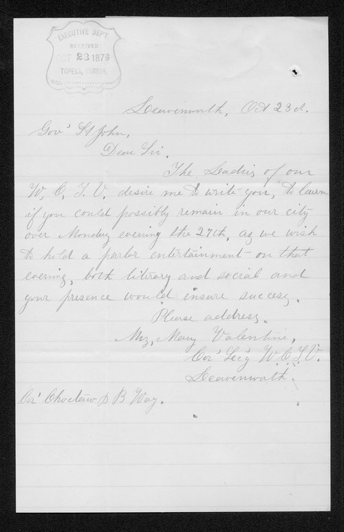 Mary Valentine to Governor John St. John - Page