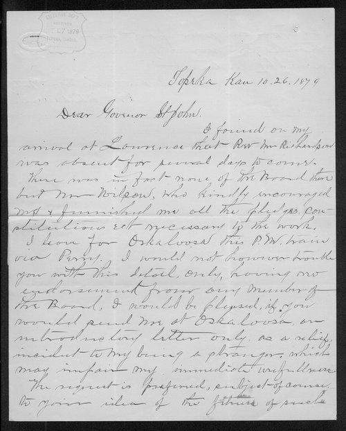 Ira Chamberlin to Governor John St. John - Page