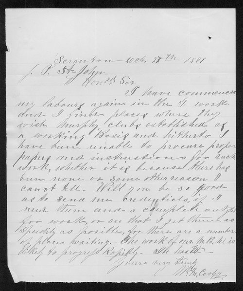 W.M. Cooley to Governor John St. John - Page