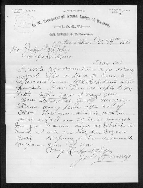 James Grimes to Governor John St. John - Page