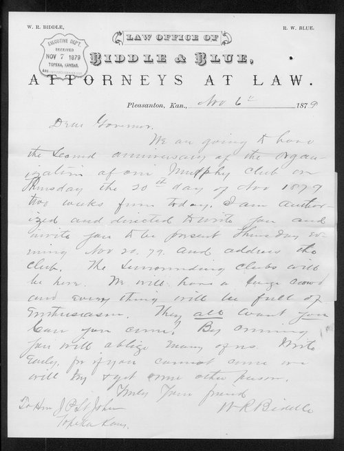 W.R. Bindle to Governor John St. John - Page