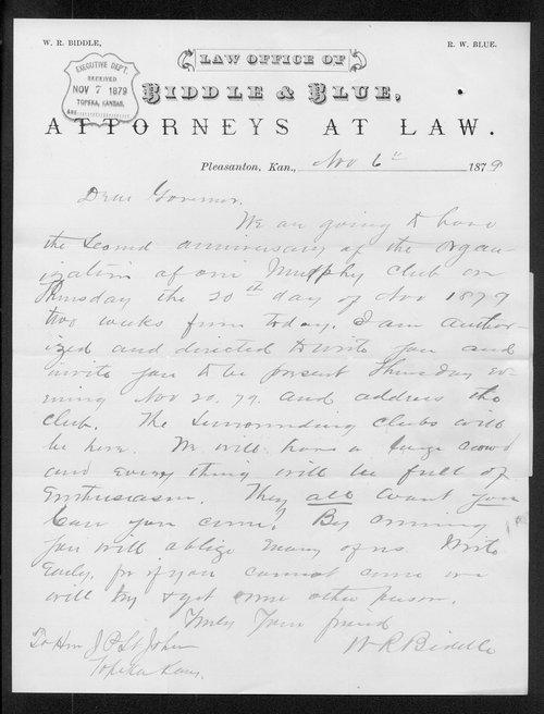 W.R. Bindle to Governor John St. John - Page