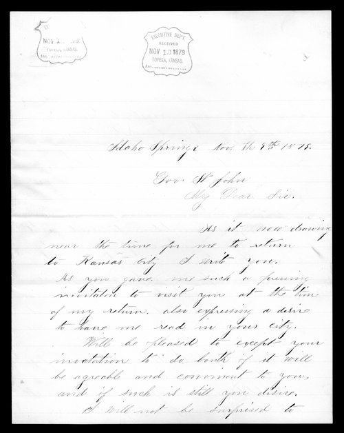 Lizzie English to Governor John St. John - Page