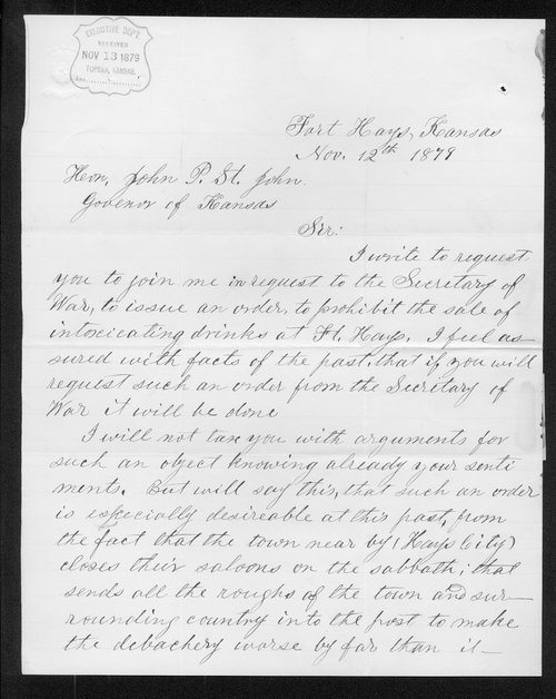 David White to Governor John St. John - Page