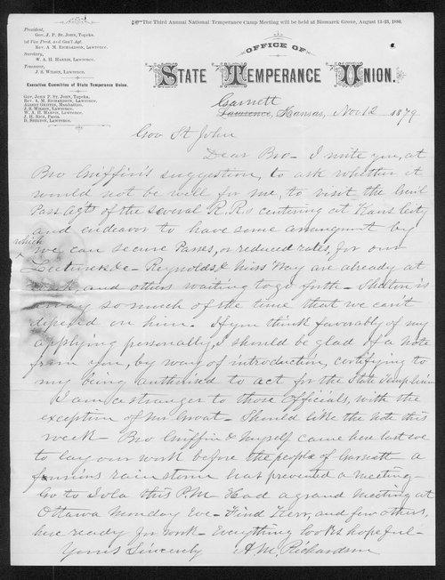 A. M. Richardson to Governor John St. John - Page