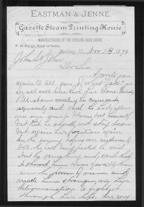M.F. Eastman to Governor John St. John - Page