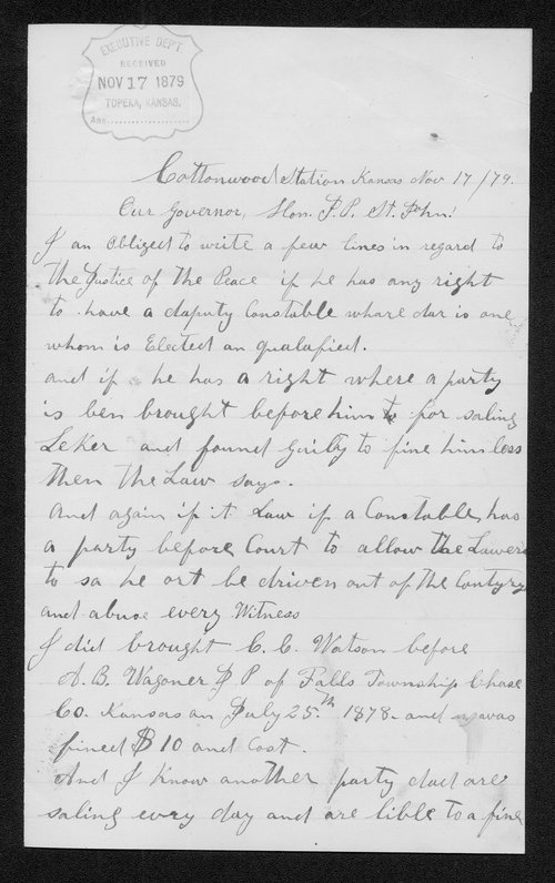 R. Willener to Governor John St. John - Page
