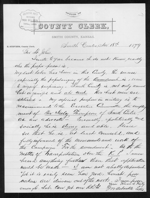 G.W. Arbuckle to Governor John St. John - Page