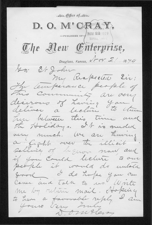 D. O. McCray to Governor John St. John - Page