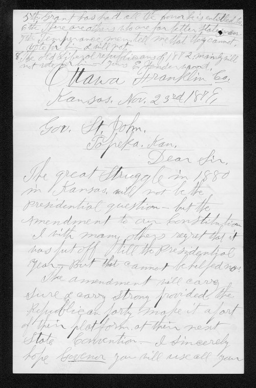E. Underwood to Governor John St. John - Page