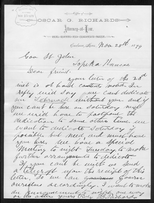 Oscar G. Richards to Governor John St. John - Page