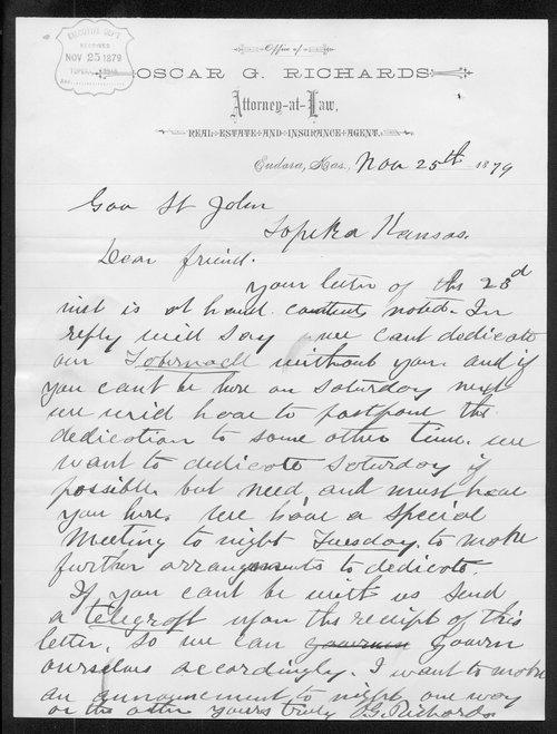 Oscar G. Richards to Governor John St. John - Page